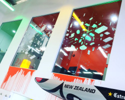 Found a home for unused window graphics –recycled at the BIG office