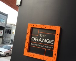 "Crockers ""The Orange"" custom building signage"