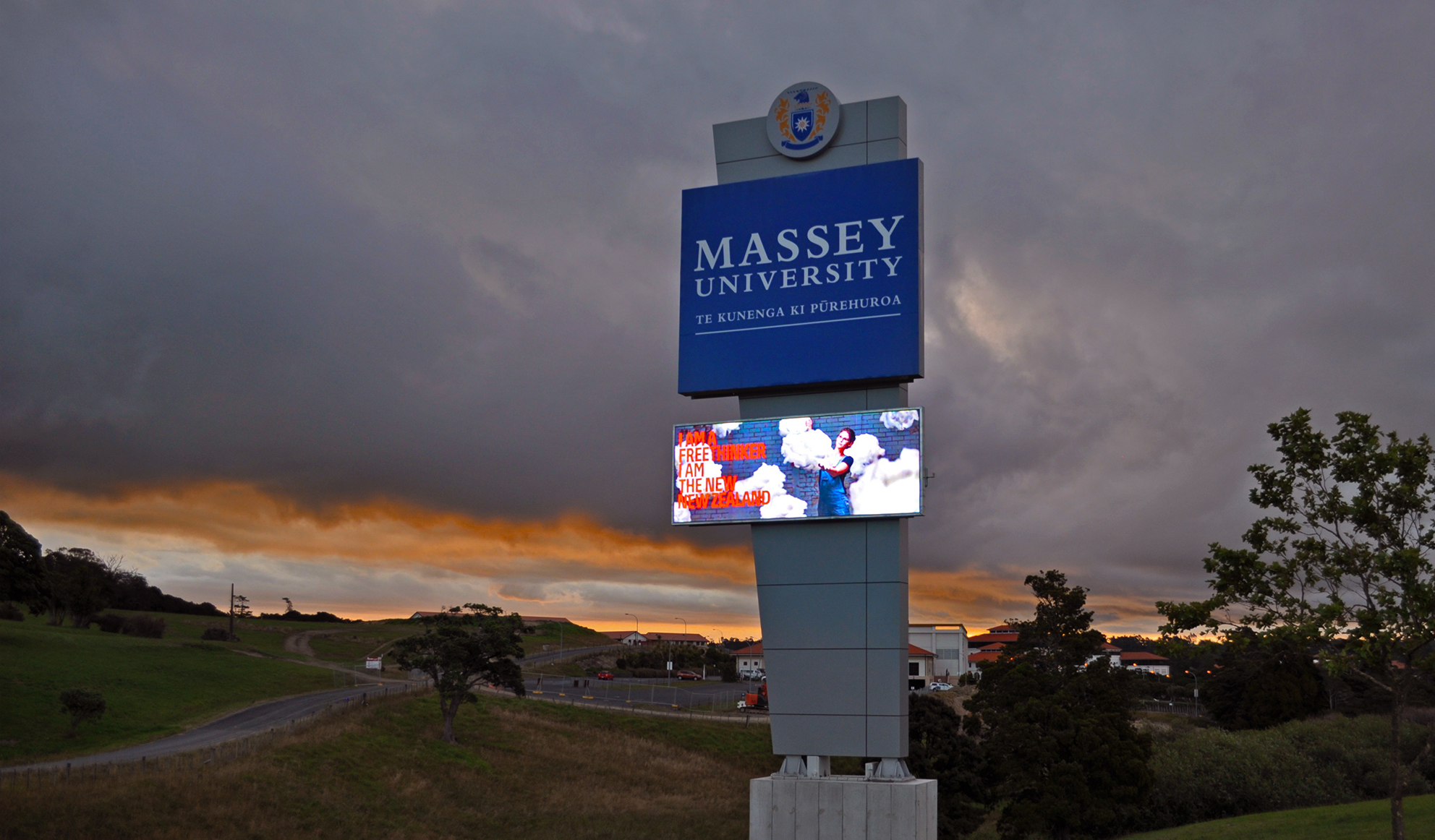 Massey University Roadside Plinth graphic